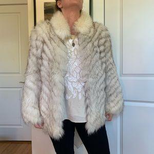 Vintage fox fur jacket white and grey sz small